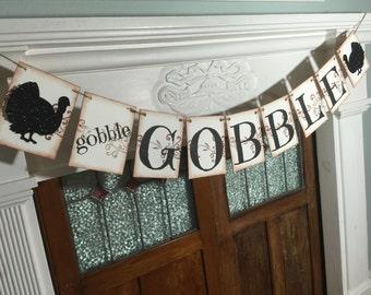 Thanksgiving Banner, Gobble Gobble Banner, Fall Decor, Turkey Banner, Thanksgiving Decoration