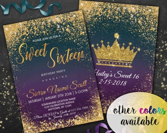 Sweet 16 Invitation Gold Navy Teal Green Purple Glitter 16th Birthday invitations for girls Quinceañera Digital Sweet 16 Glam Party Invite