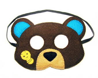 Bear felt mask - dark brown - childrens animal costume - for boys girls adults - soft felt Dress Up play accessory Theatre roleplay