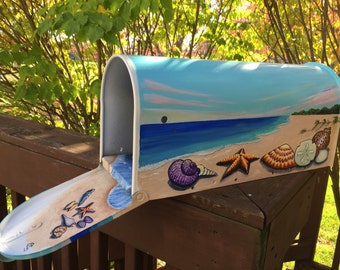 "Seascape Beach mailbox  Hand Painted  Mailbox ""Seashells"""