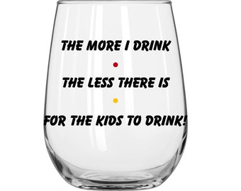 The More I Drink The Less There Is For The Kids To Drink - Phoebe Buffay - Personalized - Friends TV Show - 1 Glass