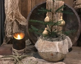 Primitive Gourd Bowl Feather Tree Spinner Gourd Ornaments Early Look Cupboard Tuck Homestead #1