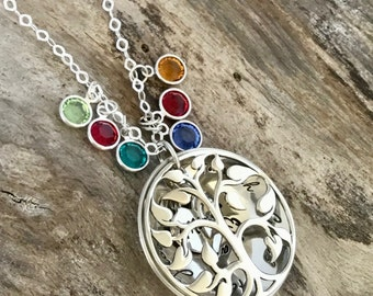 Mothers Day Gift, Birthstone Necklace, Sterling Silver, Mom Necklace, Family Necklace, Gift for Mom, Personalized Jewelry,Birthstone Jewelry