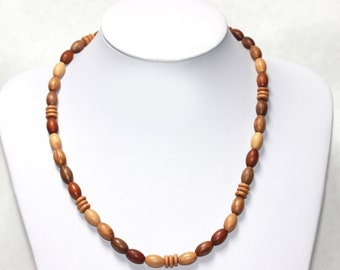 Vintage WOOD BEADS Necklace with clasp Oblong & Disc Shaped Wooden Beads