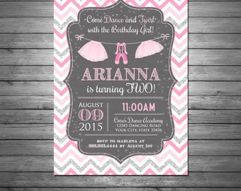 Ballerina Birthday Invitation Printable File, Polka Dots, Tutu, Ballet Slippers, Silver Glitter, Pink and Gray, For Girls