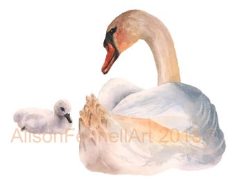 Watercolor Swan Print - 8x10 inches - ready to frame