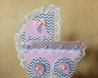 Baby shower cake topper/Elephant baby shower cake topper/Carriage baby shower cake topper/Baby girl baby shower cake topper