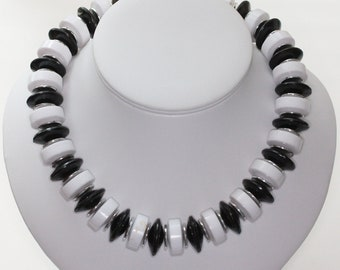 Vintage Black and White Necklace Lucite Beads Chunky Bold Retro
