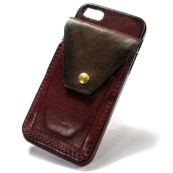 iPhone SE and 5S and 5 Italian Leather Case with 2 credit cards vertical SLOTs and a flap with snap choose the color of BODY and ACCENT