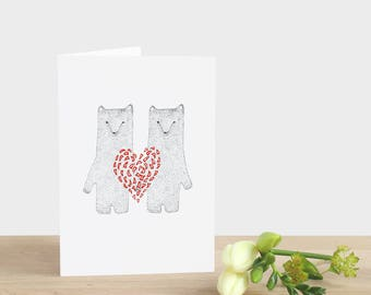 Valentine's Day Bear Card Valentine's Day Red Heart Card Bear Valentine's Day Two Bears Card Bear with Heart Card Bear Anniversary Card