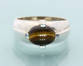Golden Brown Tigers Eye Handmade Sterling Silver Gents Solitaire Ring size 10