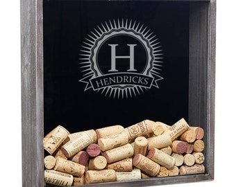 Personalized Wine Cork Shadow Box, Wine Cork Holder, Wine Cork Display, Wine Gift, Bridesmaid Gift, Bridal Shower Gift