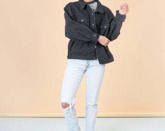 BLACK DENIM JACKET oversize jean vintage women 90S basics coat / Large Extra Xl