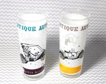 Vintage Antique Auto Car Frosted Beverage Glasses