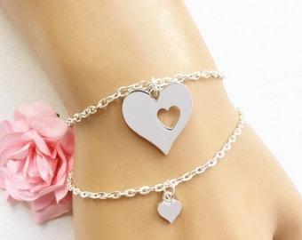 Mother and daughter bracelet, gift for mum, mum gift, mom gift, mum and daughter bracelet, heart bracelet, valentines gift,SFMDHB1