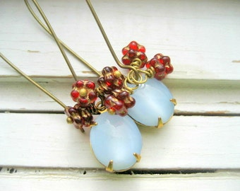 Lingonberry earrings, dainty dangles, ice blue cab and wine beaded earrings, brass kidney ear wires