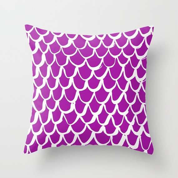 Purple Mermaid Throw Pillow . Violet and White Pillow . Purple Cushion . Orchid Mermaid Pillow . Cotton Mermaid Cushion 14 16 18 20 inch