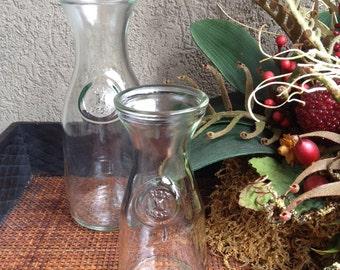 Anchor Hocking Glass Carafes Clear Decanter Bottles Vintage Set 2 - #7030