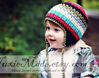 2T-4T Boys Winter Hat, Crochet Boys Hat, Earflap Hat, Kids Hat, Stripe Hat, Childrens Hat, Rainbow Hat, Boys Winter Hat, Hat for Boys
