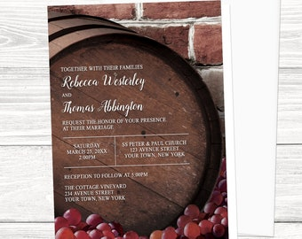 Wine Barrel Vineyard Wedding Invitations - Rustic Country Winery design with Red Grapes and Brick background - Printed Vineyard Invitations