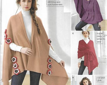 Sewing pattern - Simplicity Sewing Pattern 1098 Misses' Fleece Poncho pattern - Wrap pattern - one size