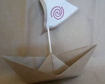 Set of 20, big boat, paper boat, origami kraft,Moana Party Birthday,photo prop, Paper Origami,Party Table Decor. Party favors,Weddings,