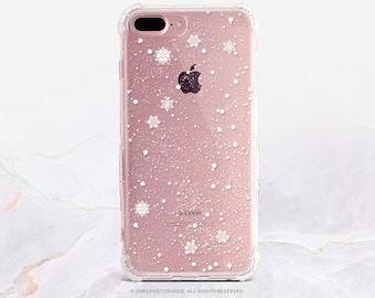 iPhone 8 Case iPhone X Case iPhone 7 Case Snowflakes Clear GRIP Rubber Case iPhone 7 Plus Clear Case iPhone SE Case Samsung S8 Plus Case H1