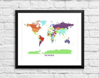 World Map.  Art Map Print.  Color Options and Size Options Available.  Map of the World.