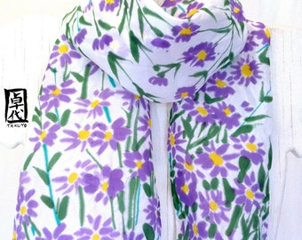 Hand Painted Silk Scarf, Woman Scarf, Purple Floral Scarf, Purple Silk Scarf, Spring Scarf, Purple Aster Meadow, Made to order.