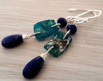 Lapis lazuli & ancient roman glass drop earrings