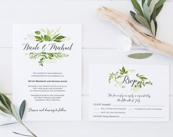 Greenery Wedding Invitation Template, Greenery Invitation, Invitation Suite Template, Spring Wedding Invitation, Invitation Set Template, C8