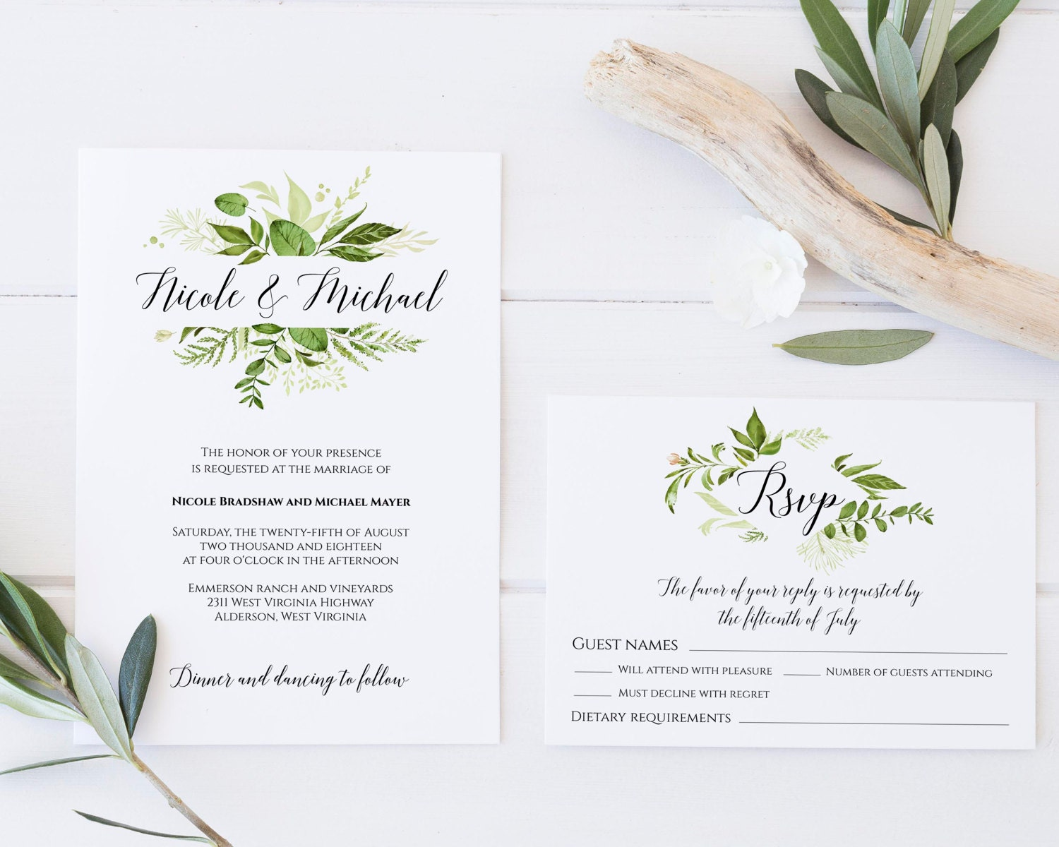 Greenery Wedding Invitation Template Greenery Invitation