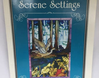 Used, Stained Glass Pattern Book, 8 Full Sized Patterns, Copper Foil Patterns, Serene Settings, By Lisa Vogt. Used But in Great Condition