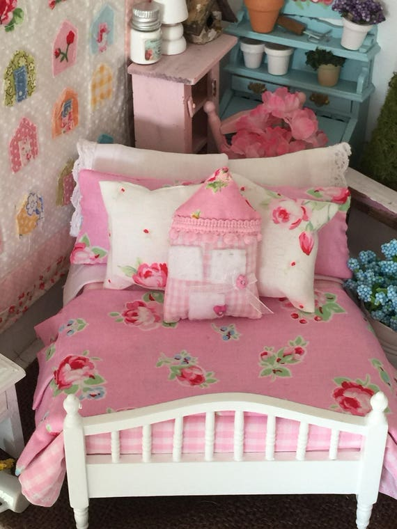 Cottage Style Dollhouse Bedding and Bed, Handmade House Pillow