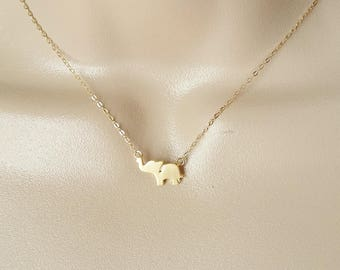 Gold Elephant Necklace, Elephant Necklace, Gold Necklace