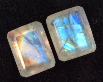 3.39 Cts Natural Rainbow Moonstone Octagon Cut Pair 8x6 mm Loose Gemstones