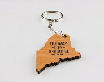 Key Chain, Maine, Wood, Lasered