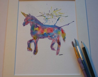 SALE Unicorn original painting, unicorn art, unicorn lover gift, unicorn painting, unicorn watercolour, whimsical painting