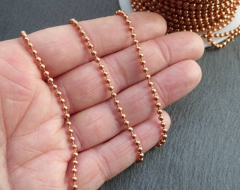 2.4 mm copper ball chain, by the Foot