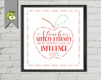 Teacher Appreciation Gift, Apple Thank you, influence, printable apple, digital file, retirement apple, leaving, teacher quote, printable