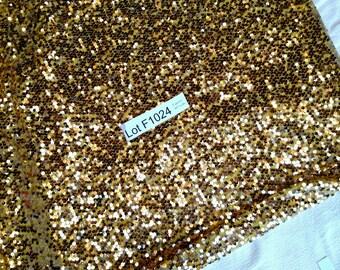 "Sequins Fabric DESTASH LOT F1024 2 yards 60"" wide gold, yellow, golden, metallic, brilliant backdrop"
