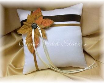 Ivory Autumn Wedding Ring Bearer Pillow, Fall Wedding Pillow, Autumn Ring Pillow, Ivory Ring Pillow, Autumn Wedding Pillow