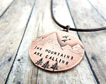 Mountain Necklace - John Muir The Mountains are Calling - Mountain Jewelry - Outdoor Gift for Her - Nature Jewelry - Hiker Gift