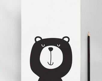 Monochrome Bear, Modern Nursery Kids Art Print