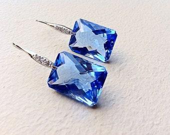 Sale Swiss Blue Topaz Pave Sterling Silver Earrings. Stone. Weddings. Statement.  Luxury jewelry gift.