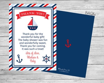 Nautical Baby Shower Thank You Printable Front and Back - Ahoy It's a Boy Baby Shower