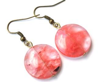Cherry Quartz Rounds . Earrings