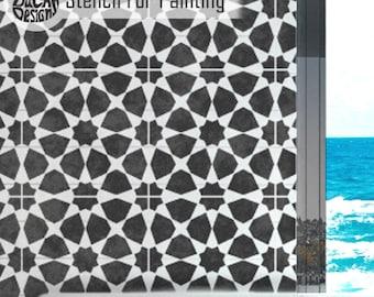 AMIRA TILE STENCIL - Moroccan Mosaic Tile Furniture Craft Floor Stencil Wall Stencil for Painting - AMIR02