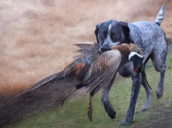 Custom Pet Portrait - Pet Painting - Oil Painting - Dog Portrait - German Shorthaired Pointer - Bird Dog