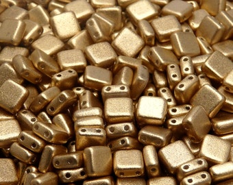 40pcs Czech Glass Beads Tile Two-Hole, Flat Square 6x6x2.9mm,AB Grade, Aztec Gold (TL1012)